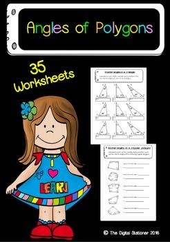 Printable worksheets Angles of PolygonsContains 35 worksheets:* Angle of Polygons booklet page (b&w)* Angle of Polygons booklet name page (color)* 3 x Shape chart (triangles, quadrilaterals and polygons)* 3 x Identifying triangles* 2 x Interior angles in a triangle* 2 x Exterior angles in a triangle* Identifying polygons* Regular or irregular polygons* 2 x Name the polygons* 2 x Interior angles in a regular polygon* 2 x Interior angles in an irregular polygon* 2 x Exterior angles in a re...