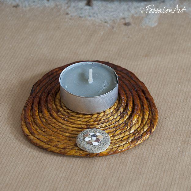 Candleholders. Hemp twine, sand and seashells' chips. | Handmade by FossalonArt