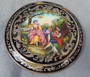 Vintage Austrian Sterling Silver Compact w Painted Scene | eBay