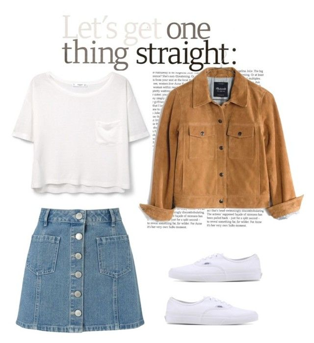 suede jacket-70's vibe by barbiousfashionblog on Polyvore featuring polyvore fashion style MANGO Madewell Miss Selfridge Vans clothing