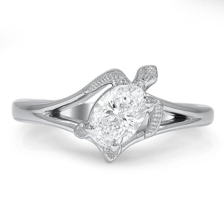 Turtle Inspired Diamond Ring, top view