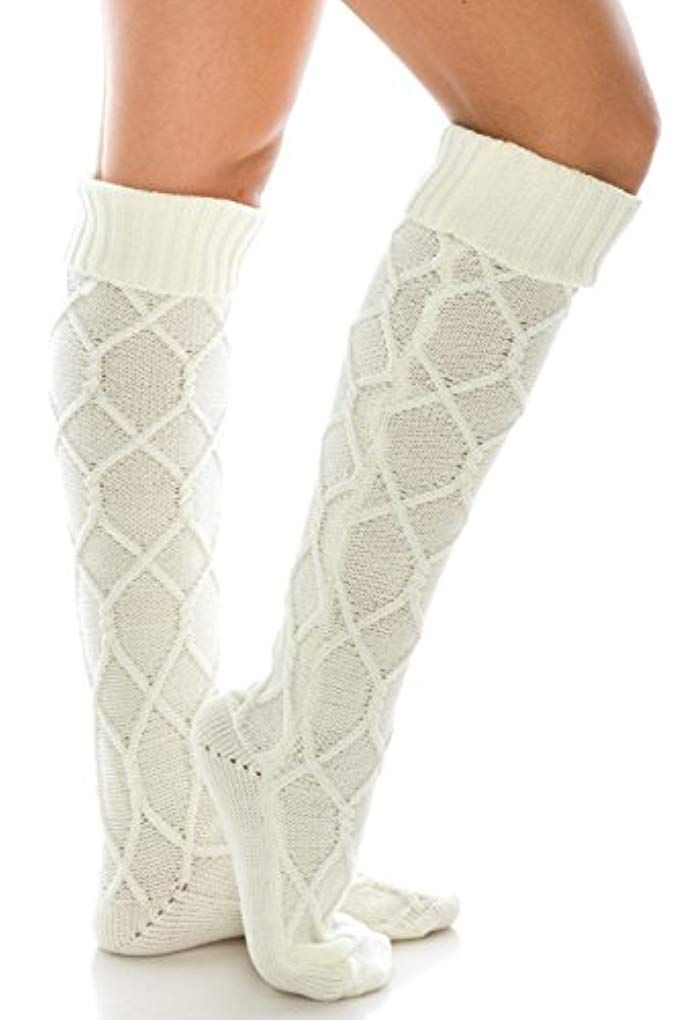 72e1cbbd76d Diamond Knit Extra Long Boot Socks