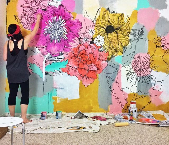 25 best ideas about murals on pinterest statement wall for Diy photo wall mural