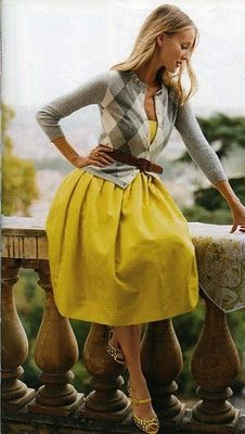 yellow + argyle: Cardigans, Argyle Sweaters, Full Skirts, Yellow Dresses, Color, Outfit, Yellow Skirts, The Dresses, Belts