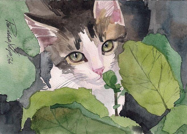 TABBY CAT KITTY KITTEN GREY PRINT OF ORIGINAL WATERCOLOR PAINTING BY YULIYA  #Realism