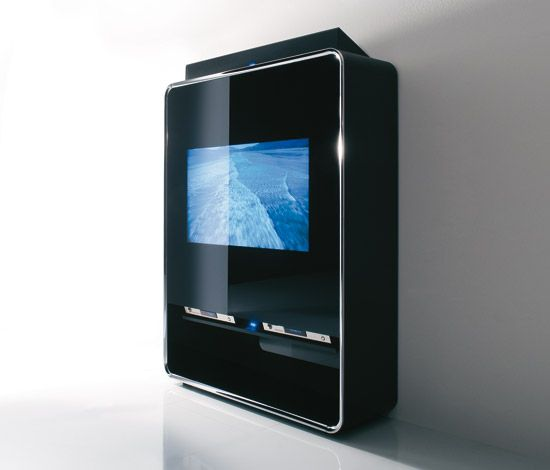 This is a International Style TV stand with a TV. The middle is glass, and the outline is steel.