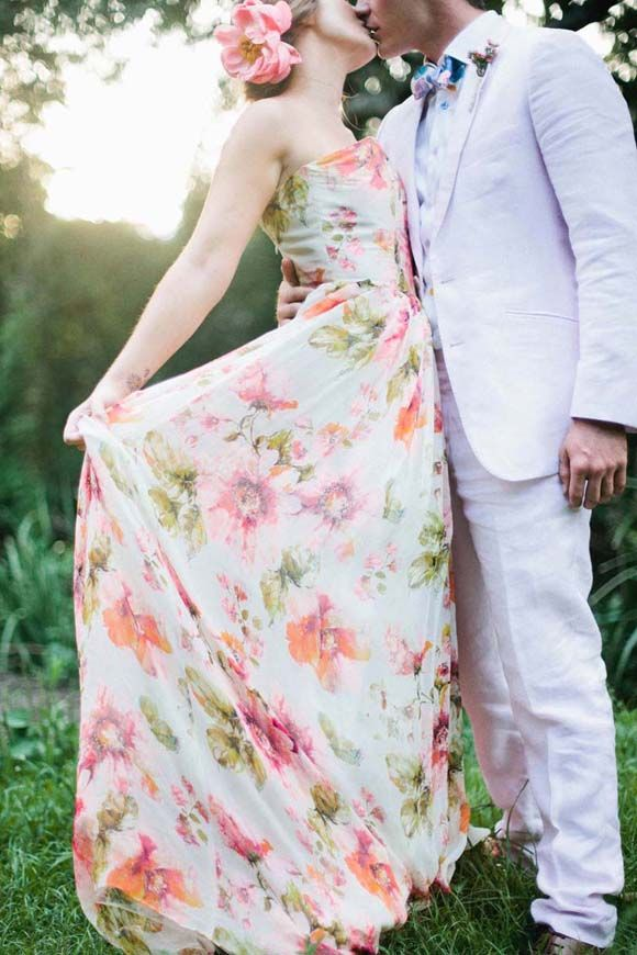 Floral print wedding dress the dress pinterest for Floral print dresses for weddings