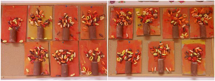 őszi fa, wc papír guriga, színes papír