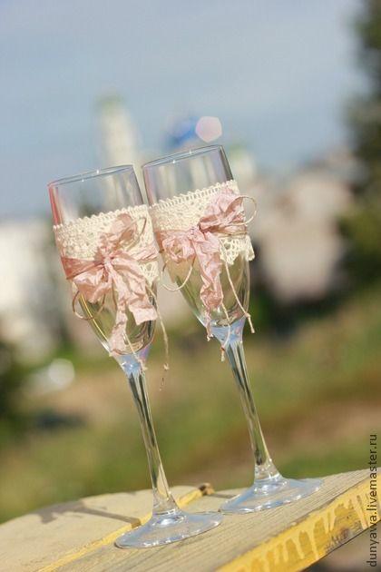 Свадебные бокалы. Handmade.