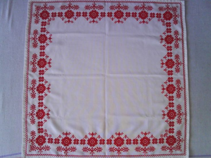 Cross stitch table cover, the patter is an original hungarian folk pattern from Gergelyiugornya (Bereg)
