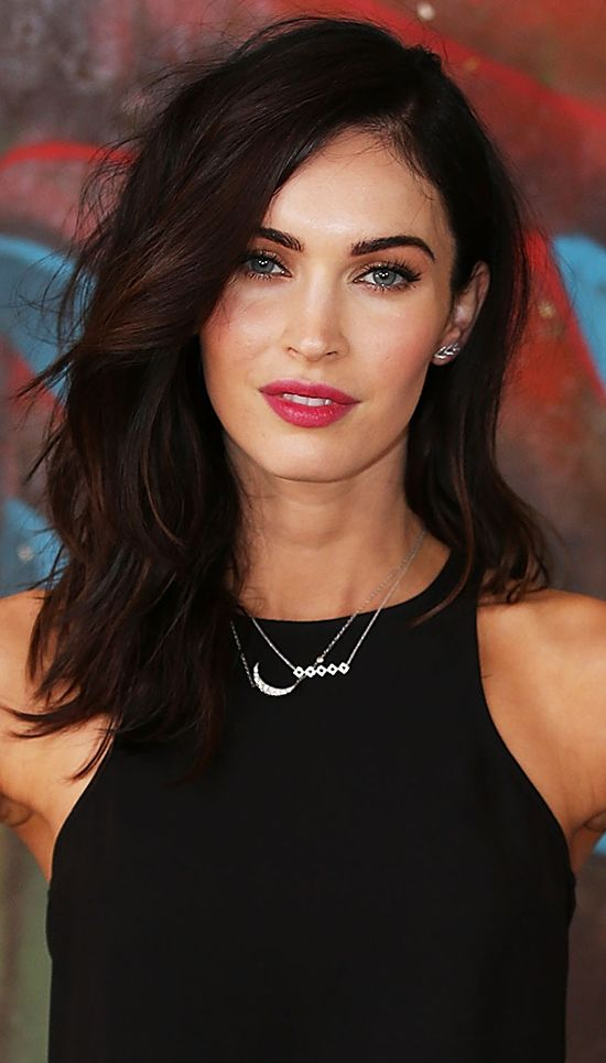 Dark brunette, light eyes, light skin with rosy cheeks & lips. Loving her coloring. Megan Fox.