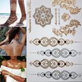 Compras libres de nueva flor de la manera del cuerpo y tatuajes temporales de henna metálico de oro y plata pulsera pegatinas de arte del tatuaje