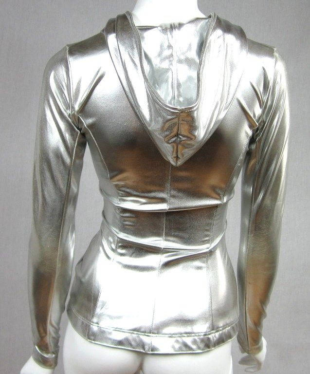 Norma Kamali Silver Metallic  Hoodie 1980s   From a collection of rare vintage jackets at http://www.1stdibs.com/fashion/clothing/jackets/