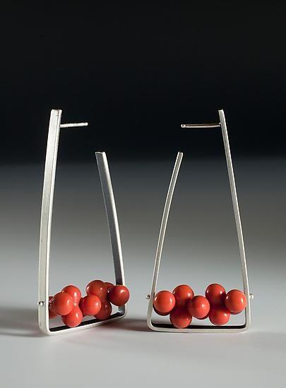 Red Jasper Triangle Hoops: Ayala Naphtali: Silver Stone Earrings - Artful Home