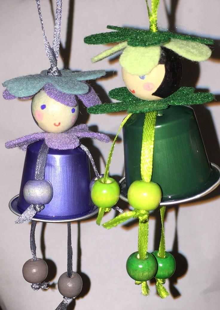 Daisies 'coffee' doll pendant Xmas tree nespresso creative recycling