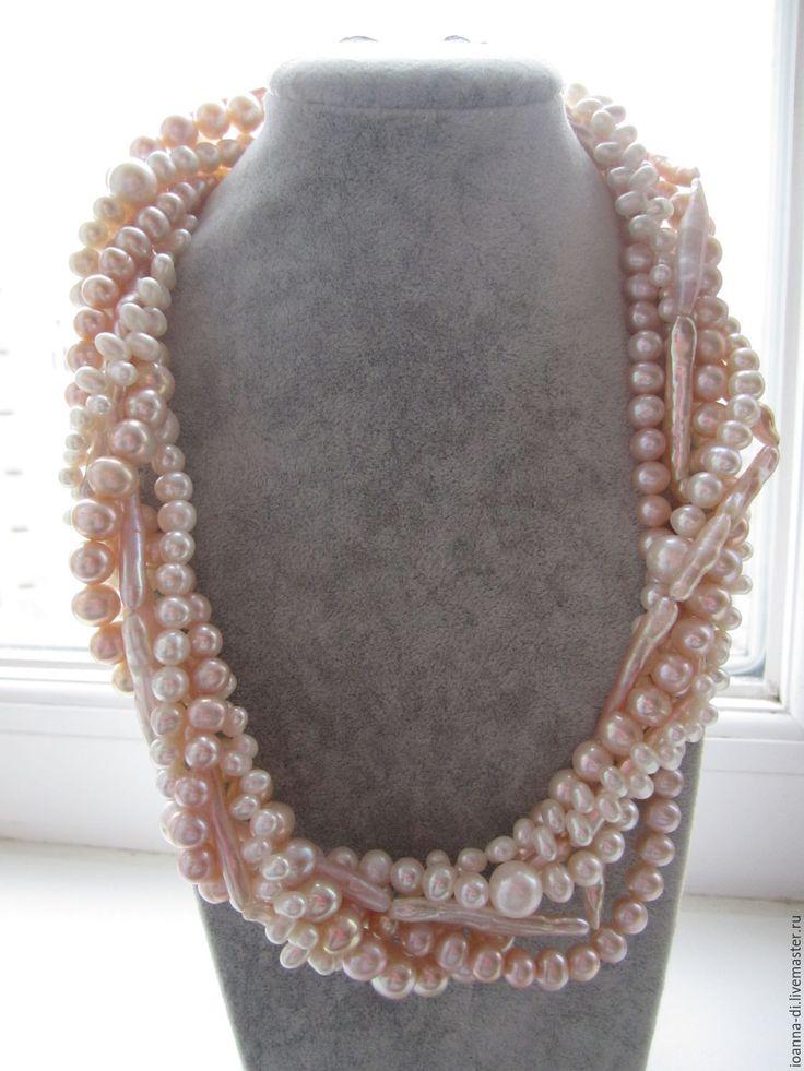 """Купить Колье """"Прекрасная дама"""" жемчуг - бежевый, многорядное ожерелье, многорядное колье, подарок в москве"""