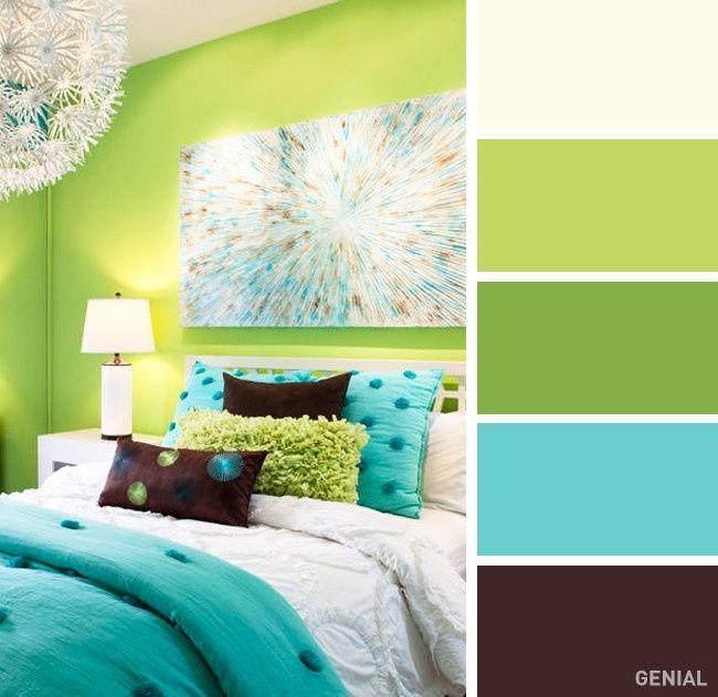 Las 25 mejores ideas sobre habitaciones de color verde lim n en pinterest y m s salas verde - Paleta de colores pared ...