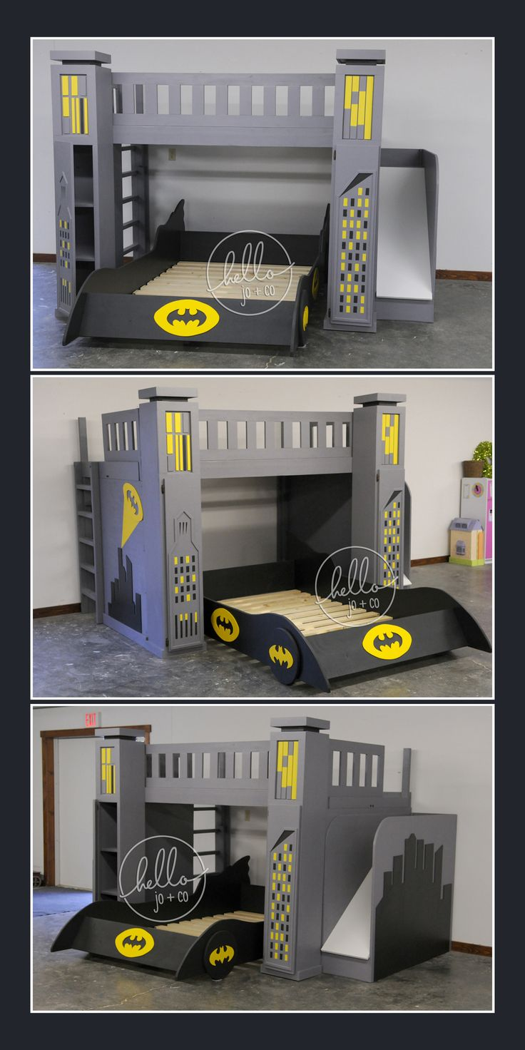 Full over Full custom batman bed with slide, storage towers & pull out batmobile. This is a hello jo + co custom build. Batman bed, super hero bed, batman bedroom, Gotham City, bat signal, kid's bedroom, kid's bed, big kid bed