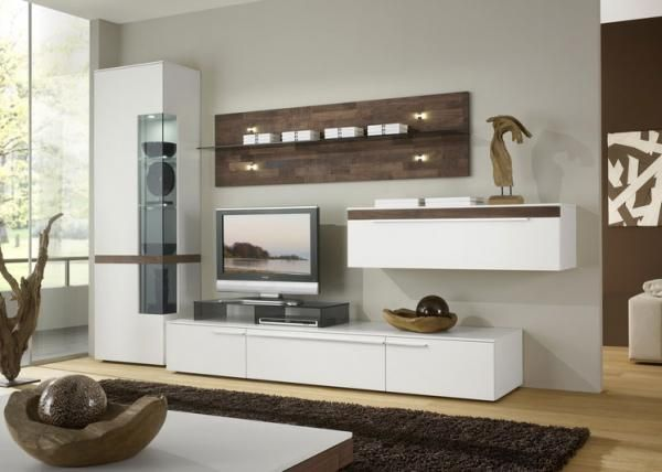 Casale wall storage unit with cabinet and display case in white matt with…