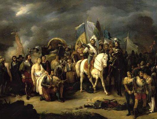 Henri IV après la bataille de Coutras, par Victor-Jean Adam (1801-1866), musée de Pau.- La rumeur dit qu'en une nuit après le traité de Nemours et sa mise hors la loides protestants, la moitié de la moustache du futur Henri IV blanchit. Commence alors un conflit où Henri IV affronte à plusieurs occasions le duc de Mayenne. Relaps, il est d nouveau excommunié par le pape, puis il doit affronter l'armée royale qu'il bat à la bataille de Coutras en 1587.