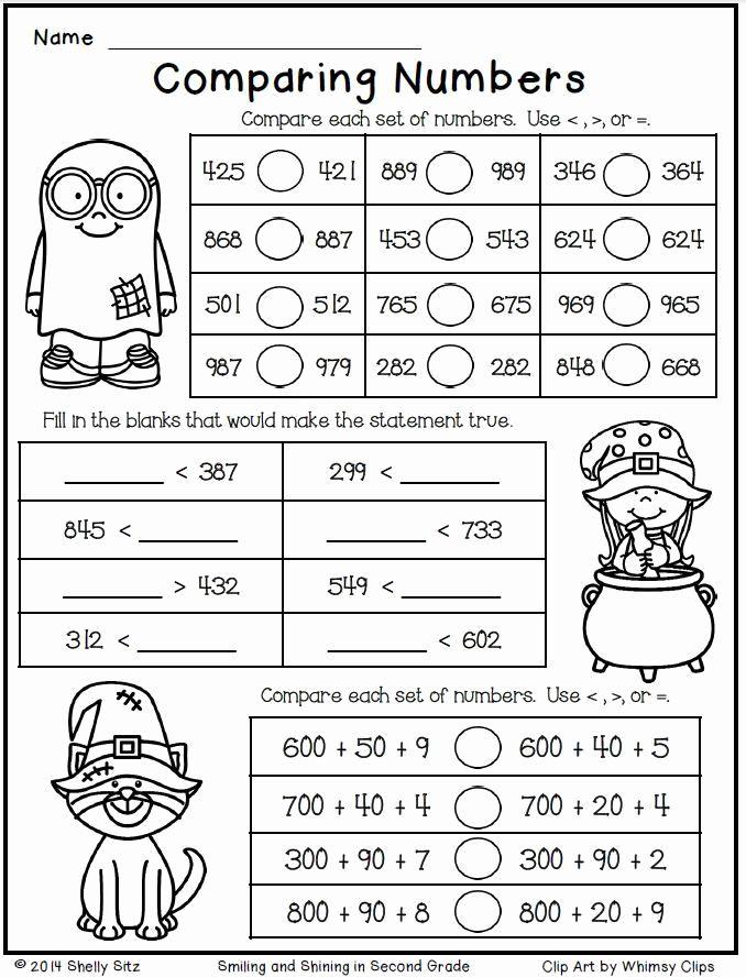 Comparing Numbers Worksheets Matematika Kelas Dua