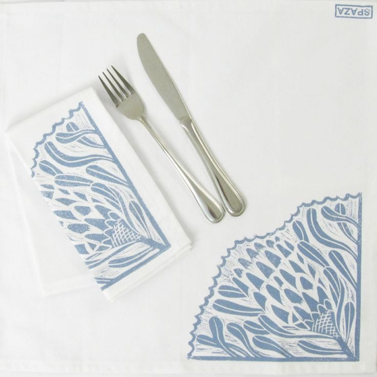 Table Napkin, blue and white, hand printed on cotton, square, set of two. Print inspired by south African protea. Handmade. by SpazaStore on Etsy