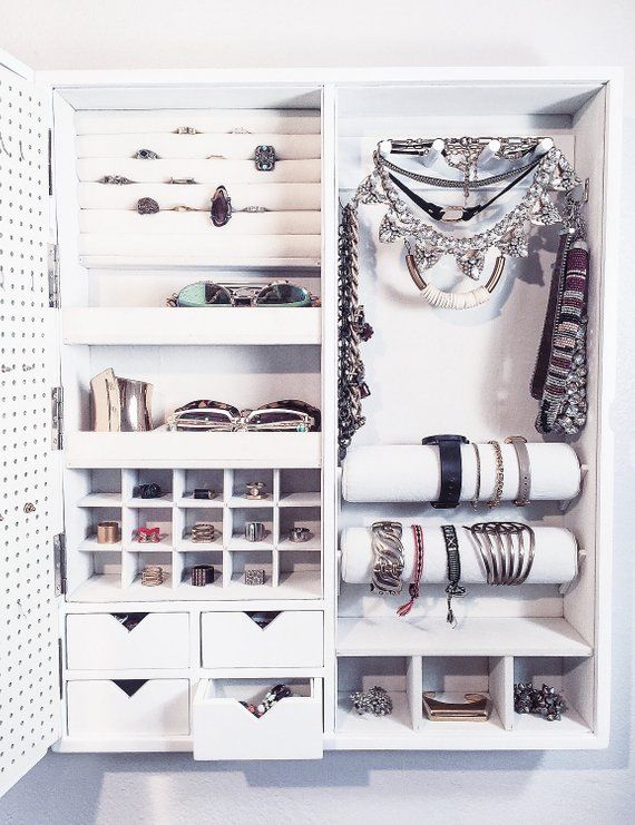 White – Wall Mounted Jewelry Organizer Mirror Frame (NOT Picture Frame)