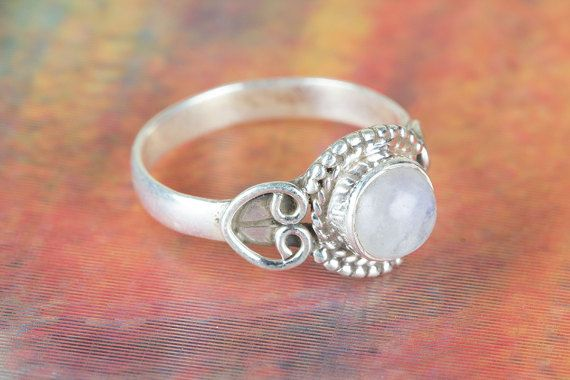 Moonstone Ring Sterling Nature Ring Stacking Rings