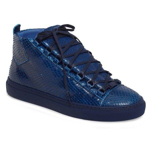 Men's Balenciaga Arena High Sneaker ($650) ❤ liked on Polyvore featuring men's fashion, men's shoes, men's sneakers, bleu pacifique leather, balenciaga mens sneakers, mens leather sneakers, mens shiny shoes, balenciaga mens shoes and mens metallic shoes