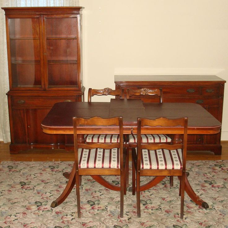 China Cabinet And Dining Room Set: Bernhardt Duncan Phyfe Mahogany Dining Room Set Double