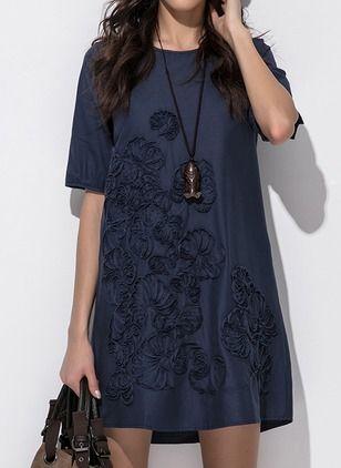 Linen Solid Half Sleeve Knee-Length Casual Dresses (1039254) @ floryday.com