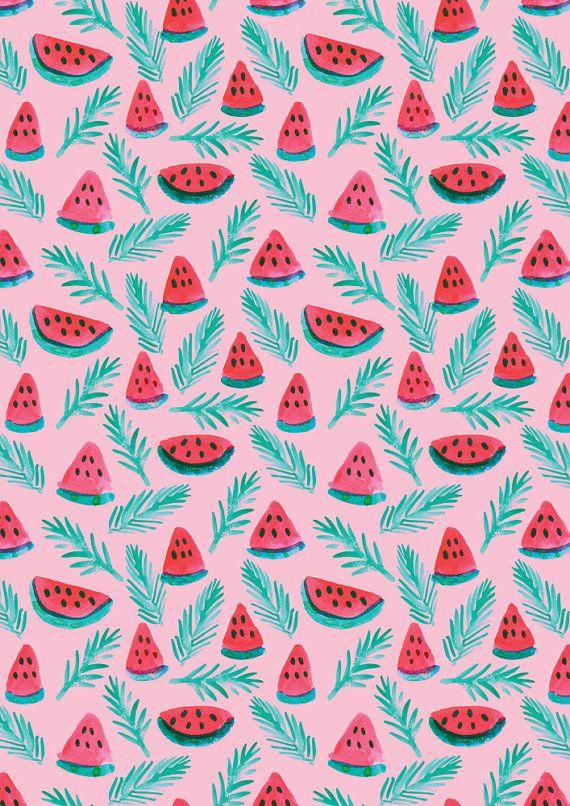 A4 Melon Palm Pattern Print
