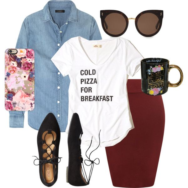 A fashion look from December 2016 featuring Hollister Co. t-shirts, J.Crew tops y WearAll skirts. Browse and shop related looks.