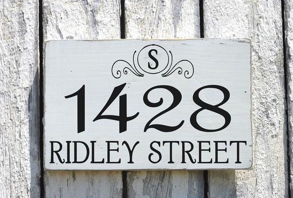 Address Plaque Outdoor House Numbers Sign With Monogram Initials Personalized Family Wall Porch Post Mailbox Marker First New Home Gift Wood Number Lawn Signs