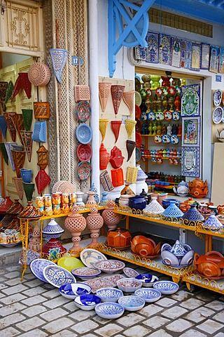 Souvenir shops, Arab ceramics, Hammamet, Tunisia, Northern Africa