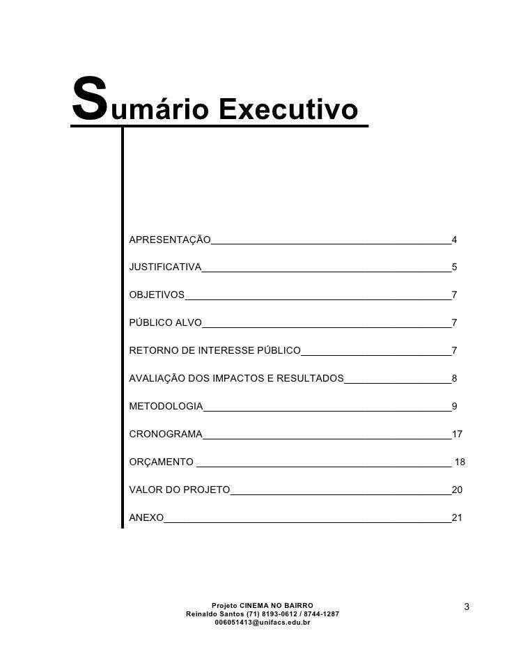 Exemplo de sumario executivo plano de negocios