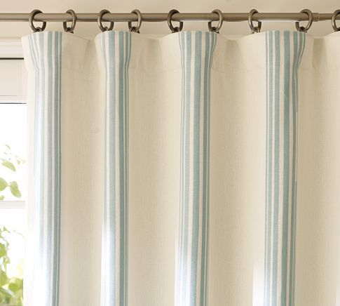 "drapes up to 108""Beach House, Living Room Curtains, Bathroom Ideas, Blue Stripes, French Blue, Bedrooms Curtains, Master Bathroom, Pottery Barns, Bathroom Windows"
