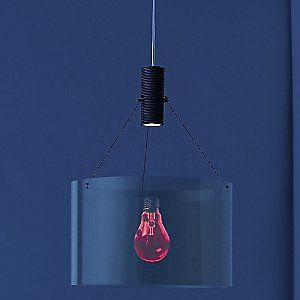 """Eddie's Son Pendant by Ingo Maurer:  """"Uses innovative hologram technology to project the vibrant image of an incandescent bulb from the hologram cylinder and 360 degrees around the transparent plastic shade."""""""