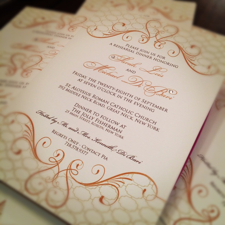 custom wedding invitations new york city%0A Cute and Simple Rehearsal Dinner Invites created at The Wedding Company in  Manhasset  New York