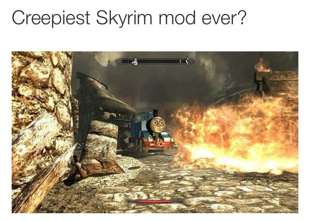 """(H1) Although in-game modifications can alter the visual aesthetics to resemble physical realm, they can detach from reality to create obscurities that are completely unrelated to the game's world. For example, the image depicts a Skyrim mod called """"Really Useful Dragons"""", which replaces dragons with trains from the Thomas the Tank Engine brand, coincidentally also replacing the sounds and items to correlate with the trains. The technological and cultural conflict of the trains' ..."""