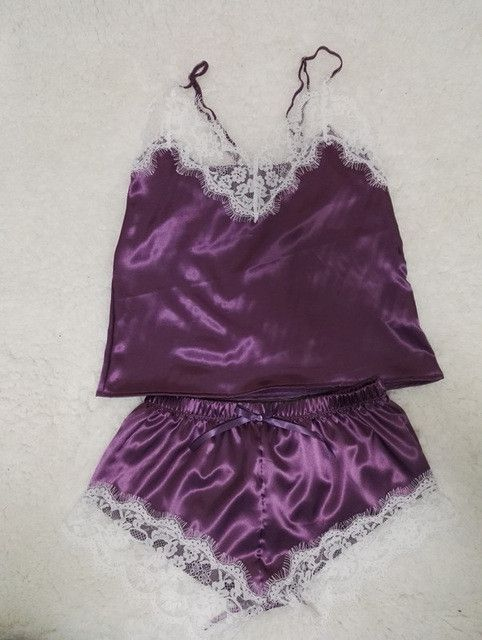 Satin Cami and Shorts Set Lace Nightgowns Comfy Pajamas Pretty Nighties Artificial Silk Sleepwear Sets #vintagelingerie