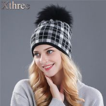 Xthree real mink knitted hat wool rabbit fur hat for women girls winter hat red beanies Skullies hat(China (Mainland))