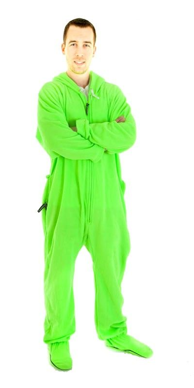 Neon Green Footed One Piece Sleepwear Footie Mens PJs, Womens Adult Onesies