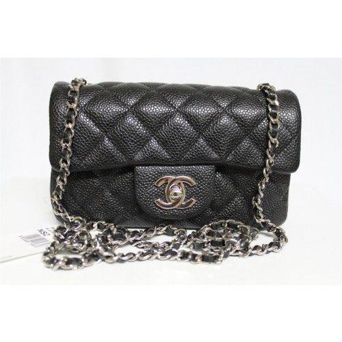 Chanel Black Caviar Leather Mini Messenger Bag - Chanel - Brands   Portero Luxury