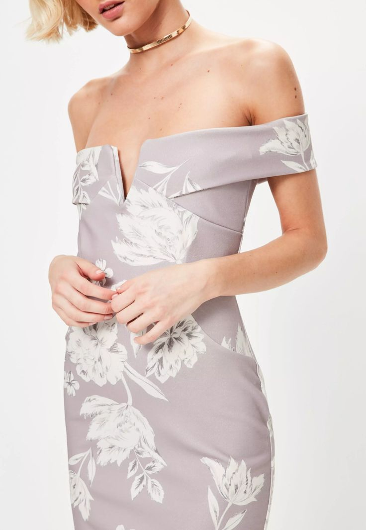 elevate your style game wearing florals in this grey midi dress - featuring a bardot top, split hem and figure hugging fit.