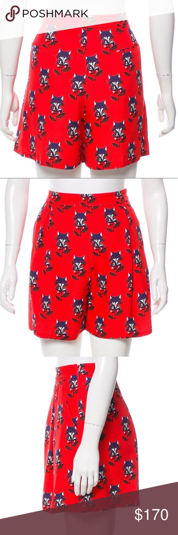 """Miu Miu Signature Cat Print Silk Shorts Red and blue Miu Miu mini shorts with signature cat/floral  print throughout, dual slit pockets at front and concealed zip closure at side. Fully lined. Adorable shorts! Unfortunately they no longer fit. Pristine like new condition.   Measurements: Inseam: 3.5"""" Waist: 29"""" Leg Opening: 31"""" Rise: 14"""" Hip: 38"""" Miu Miu Shorts"""