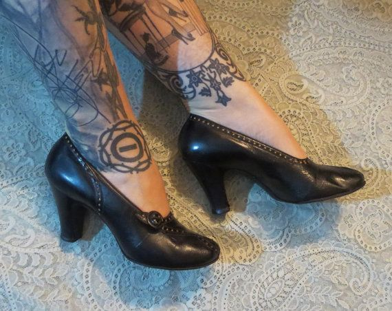 This is a pair of of original pumps/heels from the 1930s. They are made of leather. Leather soles and leather inside too. Peep toe design. They have a 3 1/4 heel. Original inner soles that reads Florsheim Shoes for Women. They are marked 6 B which is handwritten inside - common for shoes of this era since Ladies shoes were made to more of a custom fit. They run like a size 6 1/2 - B is considered a medium width. I wear 6 1/2 in this style heels and I am modeling them in t...