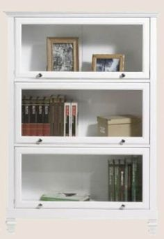 white barrister bookcase; glass allows pretty decorations to be seen but not gather dust