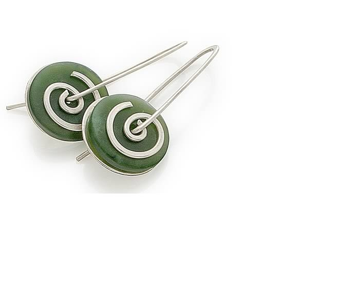 Greenstone and sterling silver spiral drops by New Zealand jewellery designer Nick Feint, Stone Arrow.