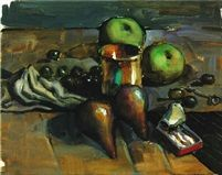 Still life two apples two pears olives by Armando Morales